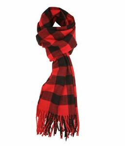90b015368a58d Best Womens Cashmere Feel Winter Plaid Scarf Red Scarf Buffalo Check ...