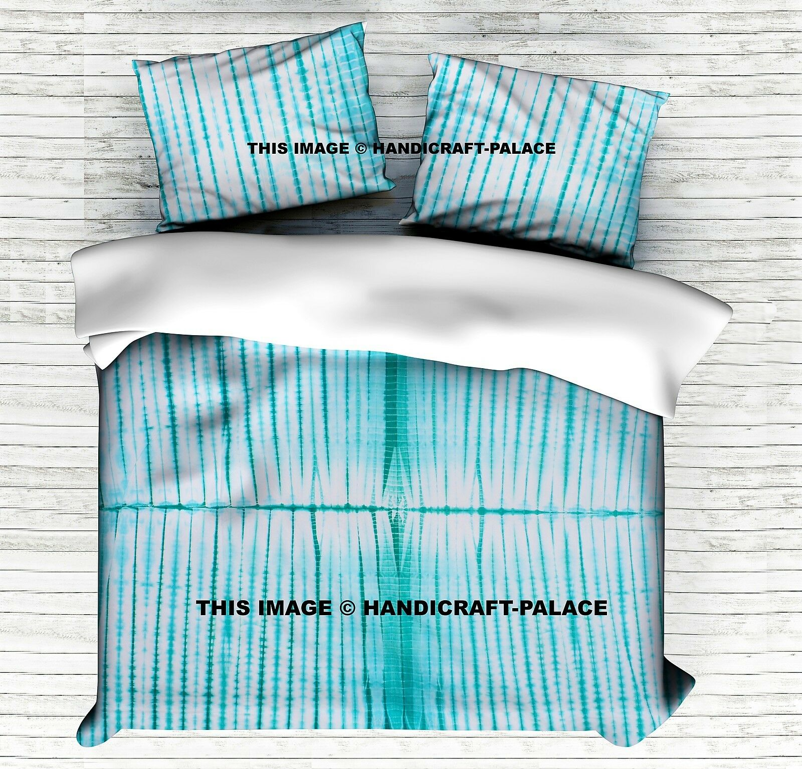 Tie Dye Stripe Design Aqua Duvet Cover Indian King Quilt Cover Set Cotton Throw