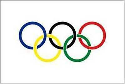 """OLYMPIC OLYMPICS GAMES 5-RINGS 5 RINGS FLAG 4x6/"""" INCH W// STICK SPORTS FLAGS"""