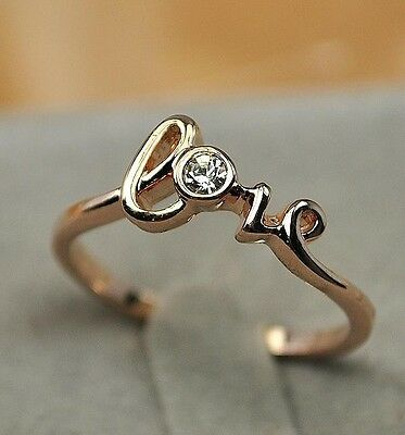 18K GP Gold Plated Crystal Love  Ring Size :5.5 6 7 8 9 Alloy