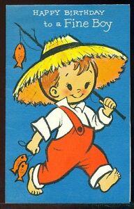 Vintage birthday greeting card happy birthday to a fine boy boy fish image is loading vintage birthday greeting card happy birthday to a m4hsunfo