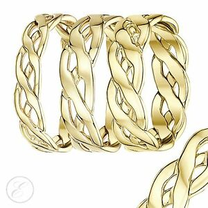 9ct Yellow Gold Celtic Knot Wedding Band Ring 5mm