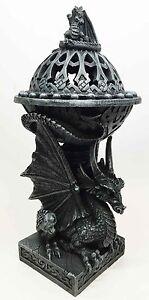 Titan Atlas Dragon Tower Sphere Incense Burner Sculpture Figurine in Faux Stone