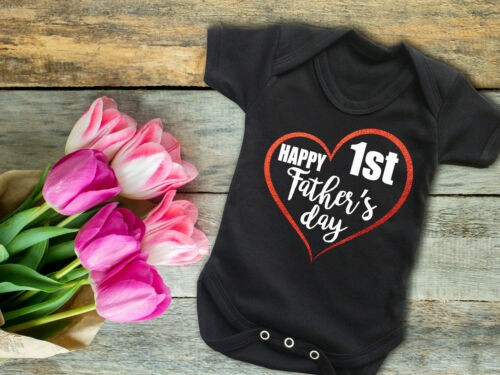 Happy 1st Father/'s day black baby grow bodysuit vest Father/'s day gift