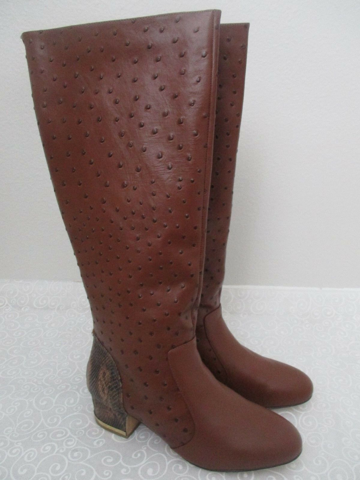 239 DEESIGNS BROWN OSTRICH LEATHER 12 KNEE HIGH Stiefel SIZE 12 LEATHER W - NEW cbf0d7