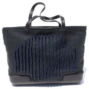 BOTTEGA-VENETA-Black-Fabric-Leather-Trim-Bead-Embellished-Blue-Stitch-Mini-Bag