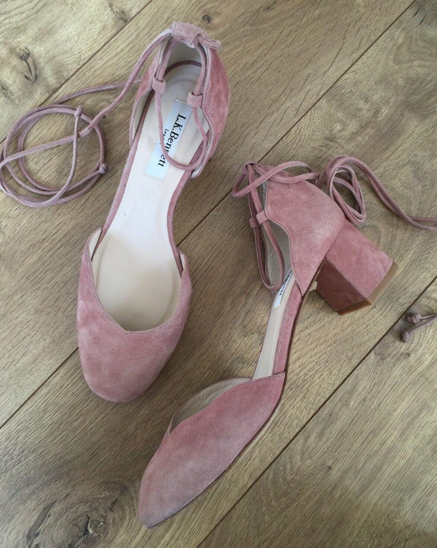 benvenuto a comprare  325 NEW NEW NEW LK Bennett vintage rosa rosa Suede Lali Block Lace Up scarpe Heels 36.5  seleziona tra le nuove marche come