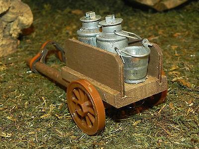 Farm Wagon Cart w/Milk Tin Cans for Nativity Village Presepio Western Diorama