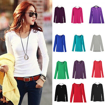 Fashion Women Slim Solid Cotton Tops Long Sleeve Shirt Casual Blouse Basic Tee