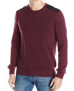 Kenneth-Cole-Reaction-Mens-Mixed-Media-Crewneck-Pullover-Sweater-Red-Blue-Black