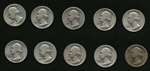 Lot-of-10-Silver-Washington-Quarters-Coins-all-1944-with-FREE-Delivery