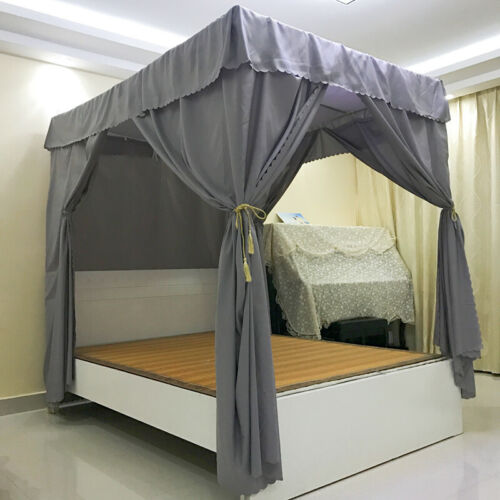 4 Corners Post Bed Curtain Canopy Netting Frame//Post Twin Full Queen King