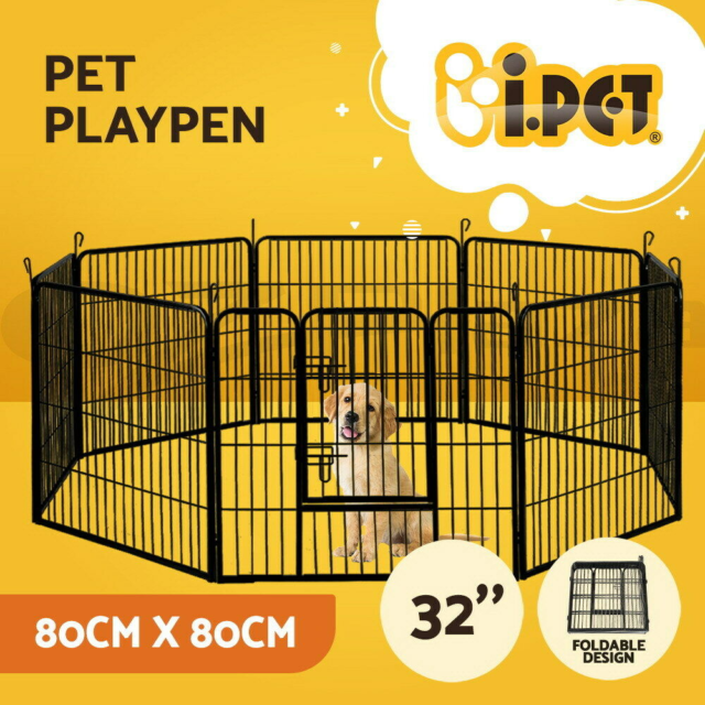 """8 Panel 32"""" Pet Dog Playpen Puppy Exercise Cage Enclosure Fence PlayPen XL - NEW"""