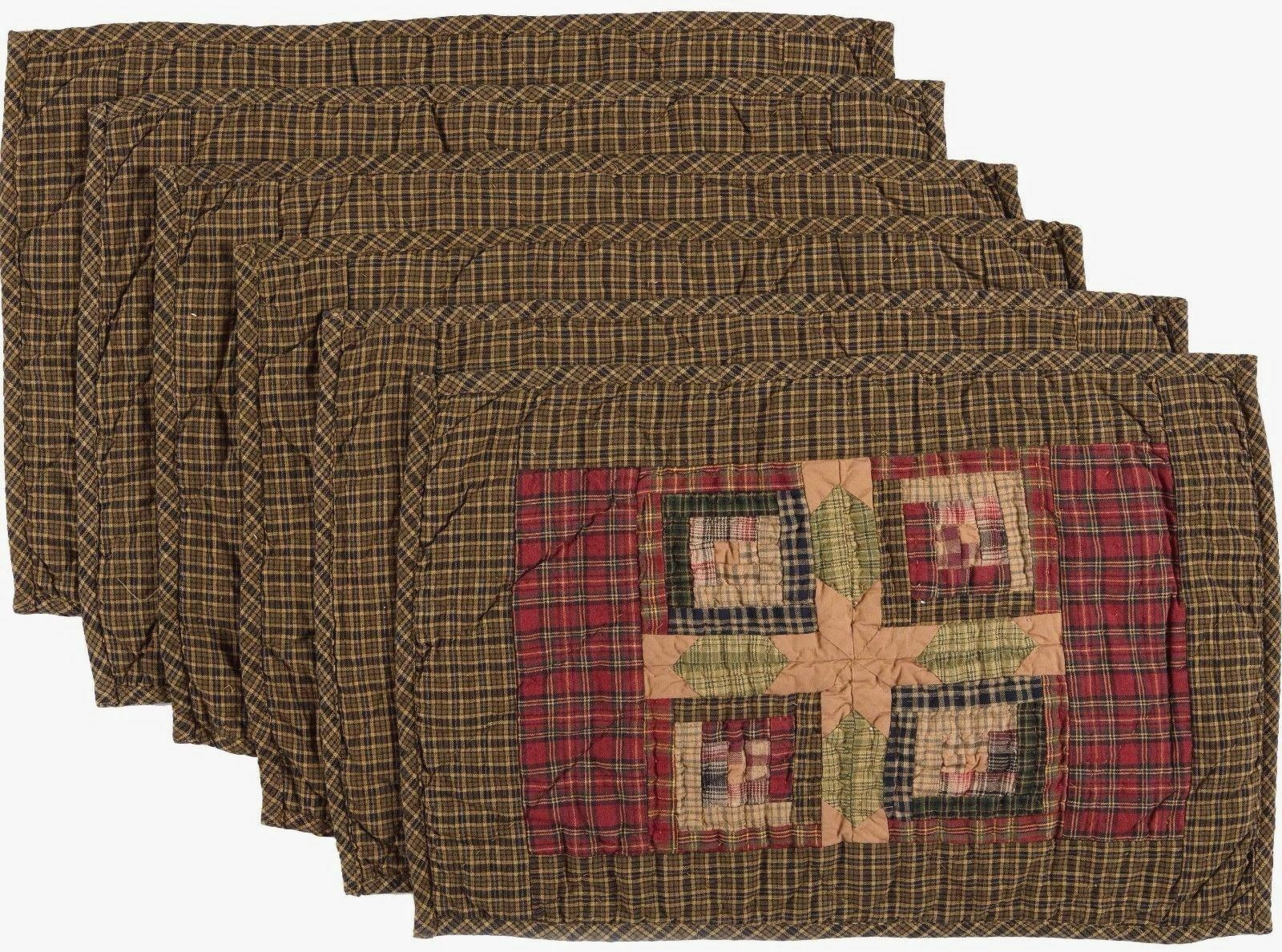 6 Green Hand Quilted Placemat Set Block