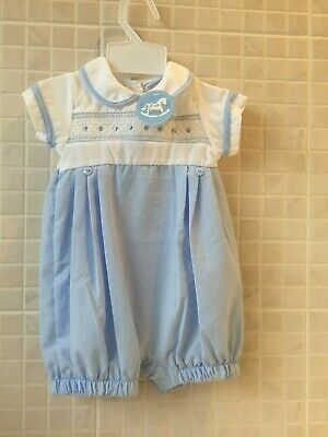 0-3m NB BLUE WHITE SPANISH STYLE BABY BOY GINGHAM ROMPER DUNGAREE SET