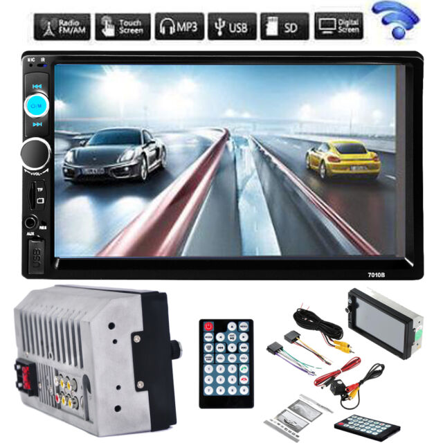 7'' HD Bluetooth Touch Screen 2 DIN Car Stereo Radio FM/MP5/MP3/USB/AUX + Camera