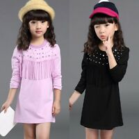Princess Toddler Baby Girl Kids Clothes Long Sleeve Tassel Cotton Top Dress 2-7Y