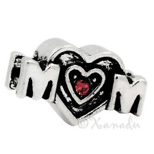 Hot Pink Mom Heart European Charm Bead For European Charm Bracelet And Necklace