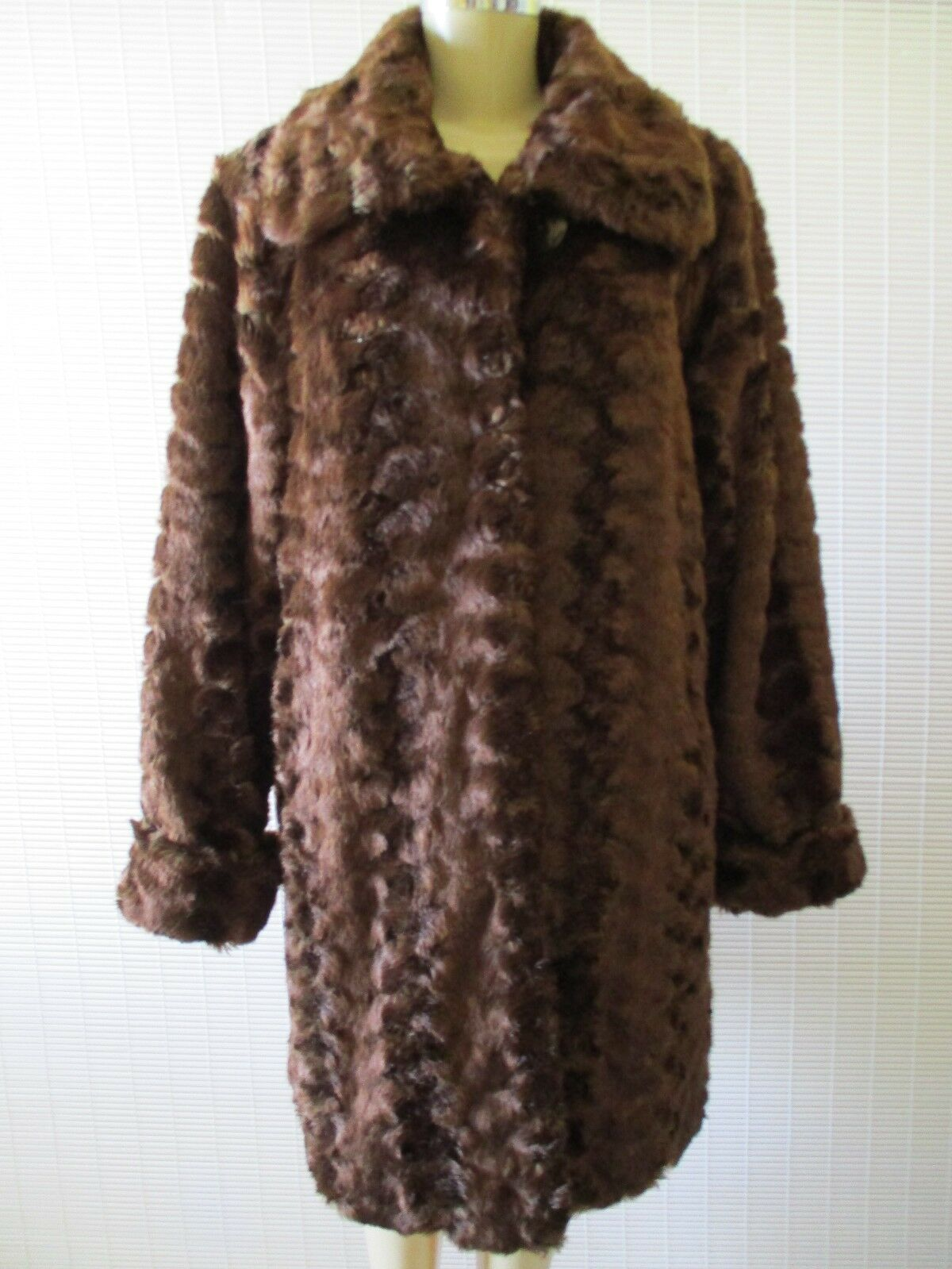 249 249 249 DENNIS BASSO BROWN LONG SLEEVE FAUX FUR COAT WITH SCARF SIZE S - NWT b0a766