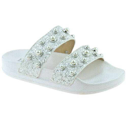 AA01 Lelli Kelly LK9912 Ginerva Bianco Glitter Slider Sandals