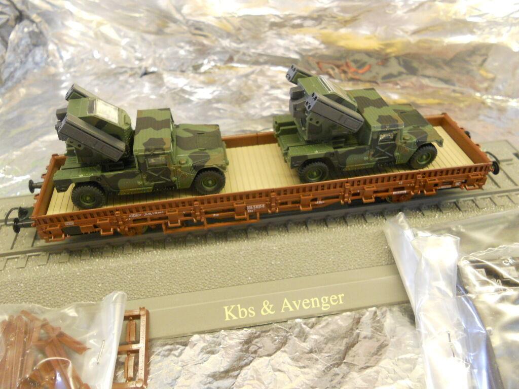 Minitank 865 Kbs flatcar with 2 Avenger AA systems. 1 87 HO Scale