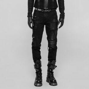 Punk-Rave-Men-039-s-Gothic-Steampunk-Post-Apocalyptic-Rock-Ripped-Pants-Jeans