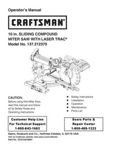 craftsman 137 212370 miter saw owners instruction manual ebay rh ebay com Craftsman 10 Inch Miter Saw Craftsman 10 Inch Miter Saw
