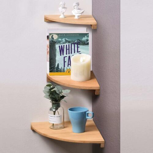 Solid Beech Wood Floating Shelves Wall Moun Yankario Corner Wall Shelf Set of 3