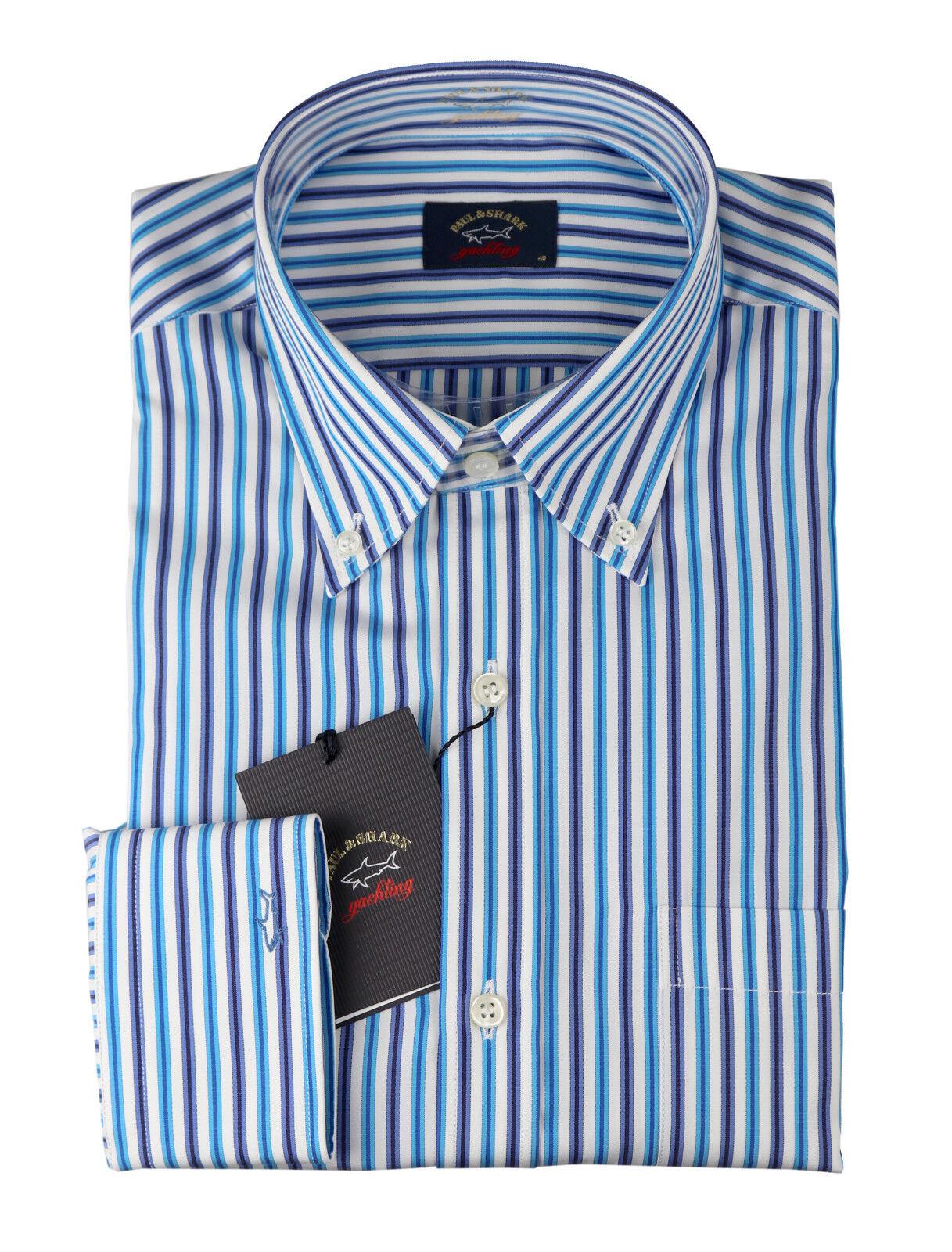 Paul & Shark Herren langarm Hemd P18P3138 Baumwolle Streifen Blau Türkis Weiß