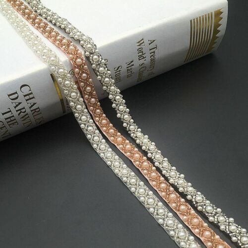 Pearls Beads Lace Trim Tape Fabric Ribbon DIY Collar Sewing Crafts Garment