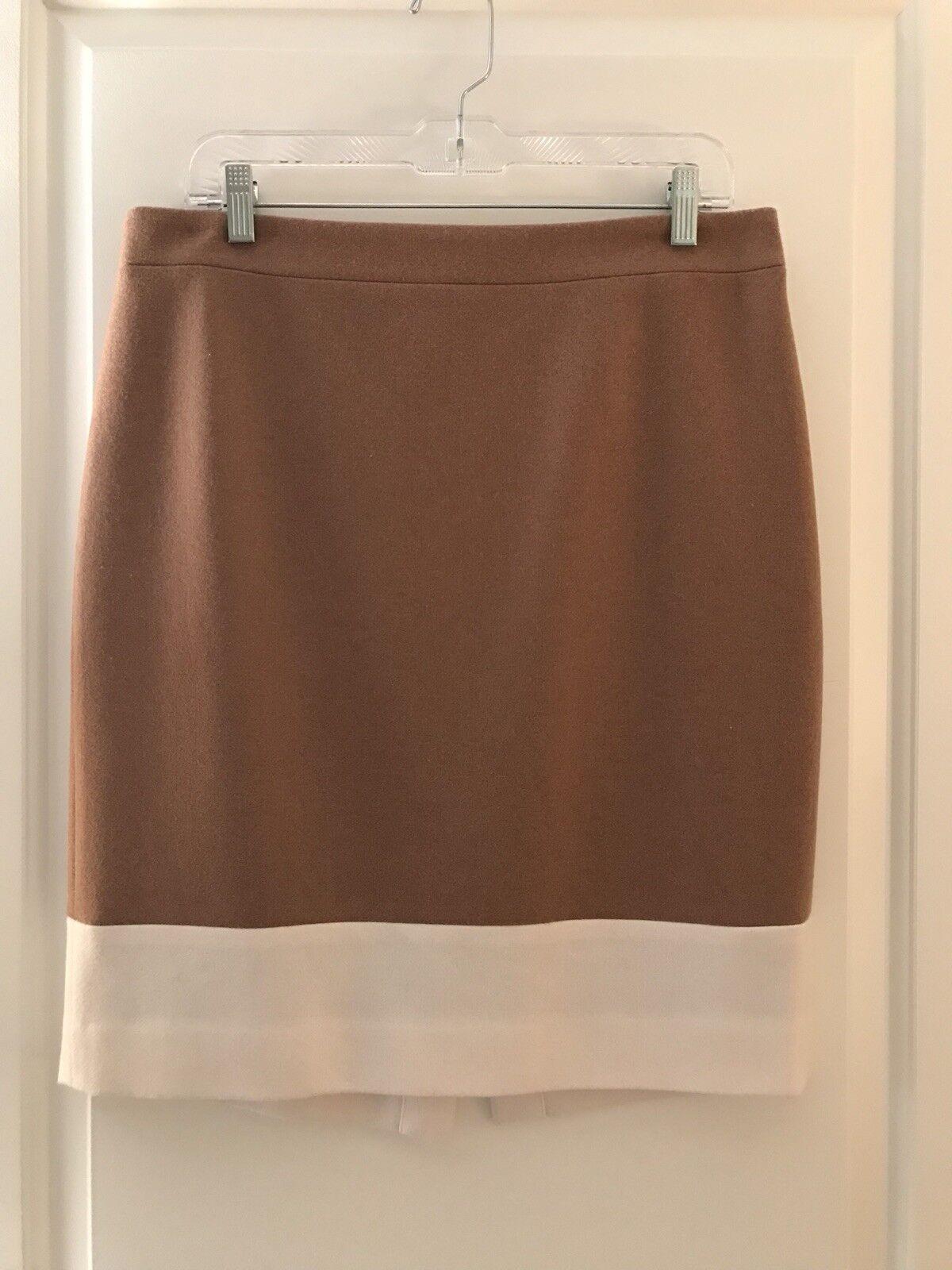 J.Crew Factory Pencil Skirt Sz 12 in Tan Cream Double-Serge Wool - EUC