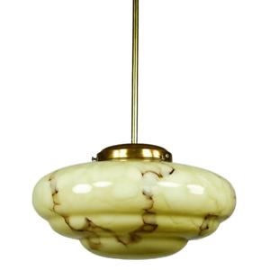 Art-Deco-Marmor-Glas-Stab-Pendel-Leuchte-Haenge-Lampe-marmoriert-30er-40er-Jahre