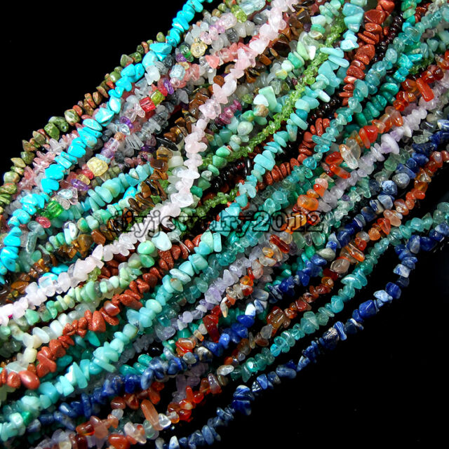"Natural Gemstone Chip Beads for Jewellery Making on 35"" 5-8mm Tourmaline Amazon"