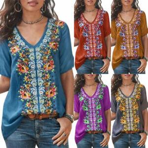 Boho-Short-Sleeve-Floral-Loose-Tops-Women-Blouse-T-Shirt-Tee-V-Neck-Summer-Beach