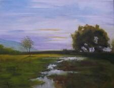 """""""TRAMONTO Stream"""" ORIGINALE IMPRESSIONISTA OLIO PITTURA dell' Ulster artista ALAN Dickson"""