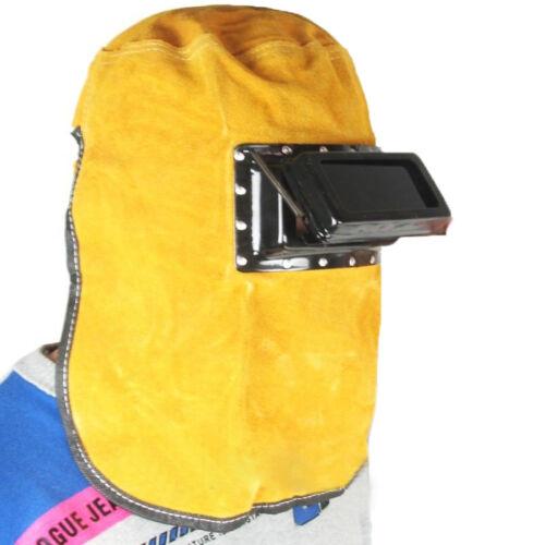 Protective Darkening Filter Lens Welder Leather Hood Welding Helmet Mask Yellow
