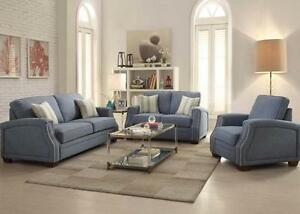 Details about Acme Betisa Blue Sofa and Loveseat w/ Nail head Trim  Furniture 52585