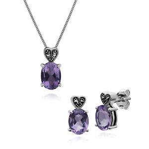 Plata-de-Ley-Amatista-amp-Marcasita-Ovalado-Pendiente-a-Presion-And-45cm-Necklace
