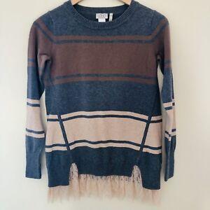 LOGO Lori Goldstein Womens XXS Color Block Cotton Cashmere Sweater ... 0f9463869