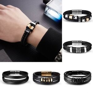 Fashion-Punk-Women-Men-Multilayer-Wrap-Leather-Braided-Cuff-Bracelet-Wristband