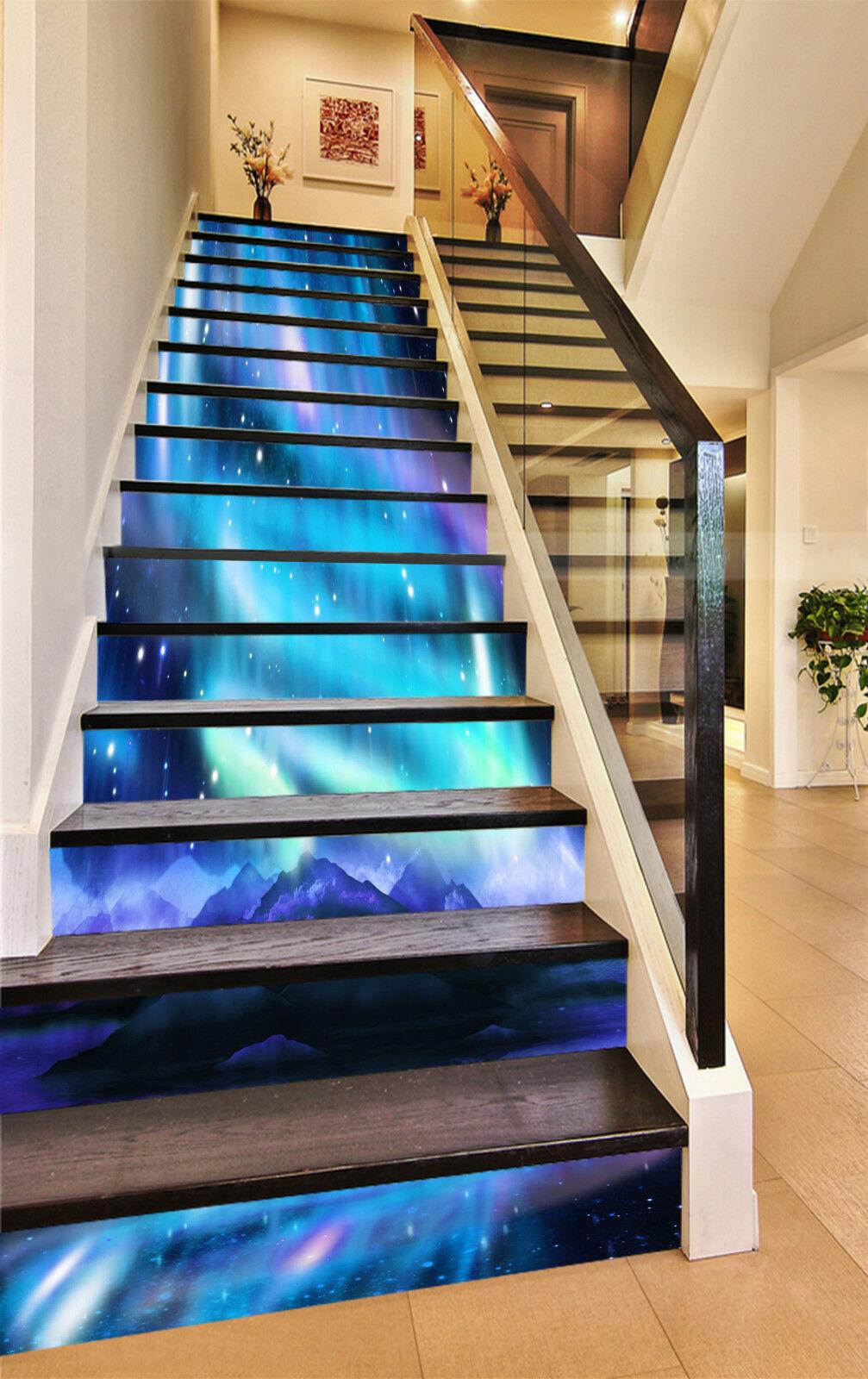 3D Polarlicht 018 Stair Risers Dekoration Fototapete Vinyl Aufkleber Tapete DE