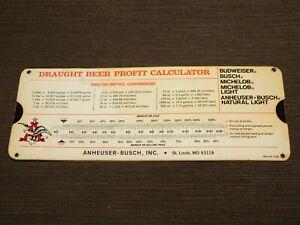 VINTAGE-BAR-1979-PERRY-GRAF-ANHEUSER-BUSCH-BUDWEISER-BEER-PROFIT-CALCULATOR
