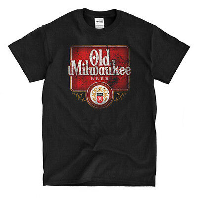 2c95e2bf8 Distressed Old Milwaukee Beer Black T-Shirt - Ships Fast! High Quality!    eBay
