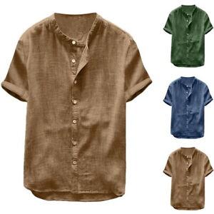 Men-Linen-Short-Sleeve-Shirt-Summer-Cool-Loose-Casual-Shirts-V-Neck-Tops-Beach