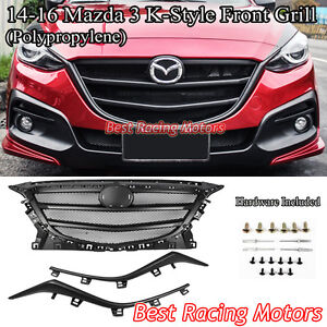 Details About K Style Front Honeycomb Mesh Grill Black Fits 14 16 Mazda 3 4 5dr