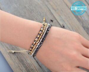 Gold-Hematite-Silver-Mixed-Metal-Adjustable-Beaded-Cord-Friendship-Boho-Bracelet