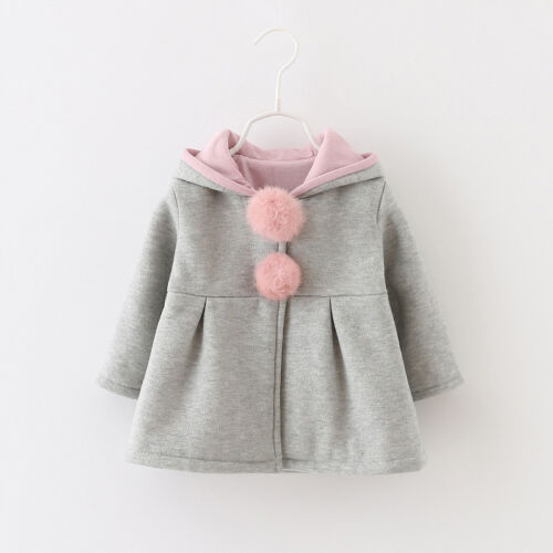 Baby Kinder Junge Mädche Jacke Mantel Overall Strampler Hasenohr Kleidung Outfit