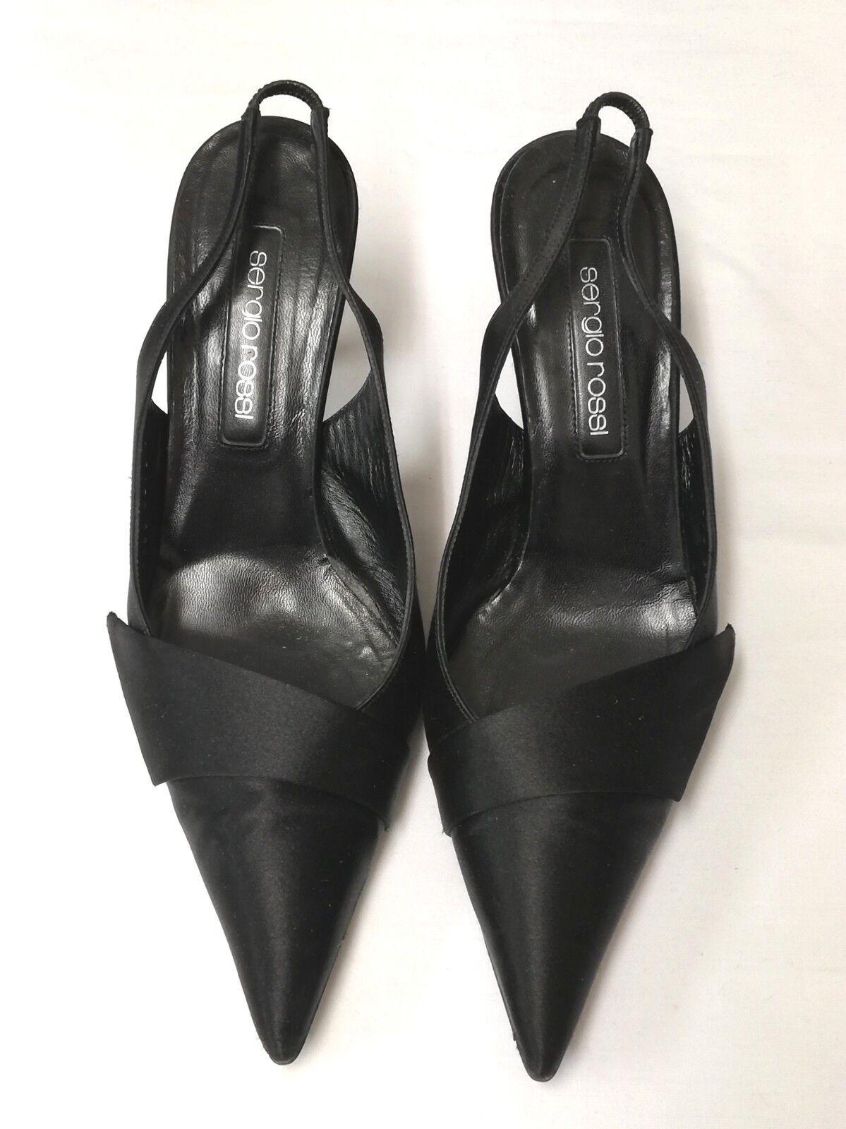 fabbrica diretta SERGIO ROSSI Tacco Alto Raso Nero scarpe POMPE talloni talloni talloni Sling Back 6EU  online economico