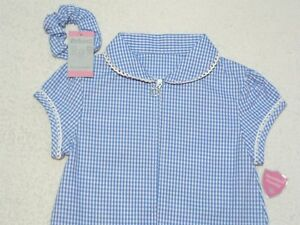 86c9f1dcc Image is loading Girls-Blue-Gingham-Check-Cotton-School-Dress-Culottes-