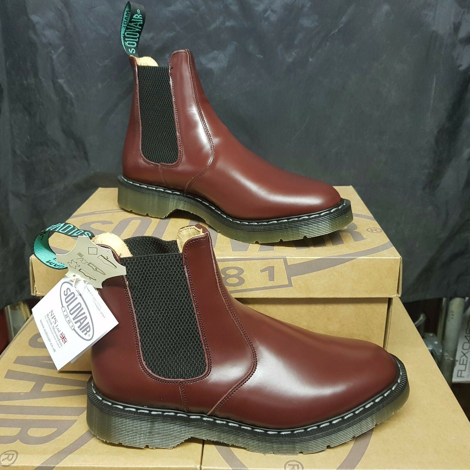 SOLOVAIR Oxblood Dealer bota hombres zapatos Leather (pv 155£)